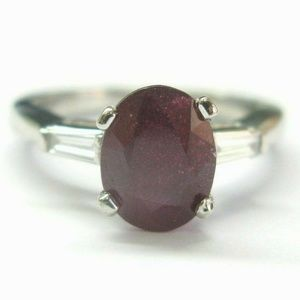 Jewelry - Platinum Oval Ruby & Baguette Diamond Three-Stone